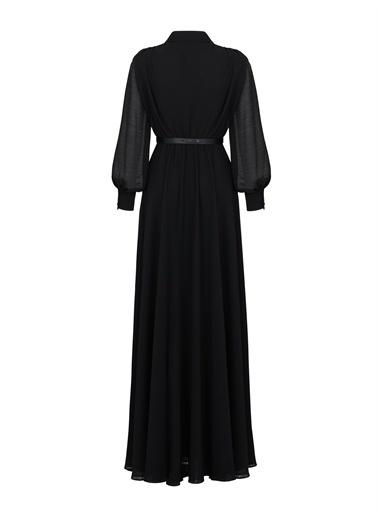 Nocturne Kruvaze Yırtmaçlı Şifon Elbise Siyah